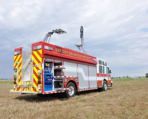 Command Light, Knight Series, LED Light Tower, Fire Truck Lights, Command Lights on top of a Fire Truck