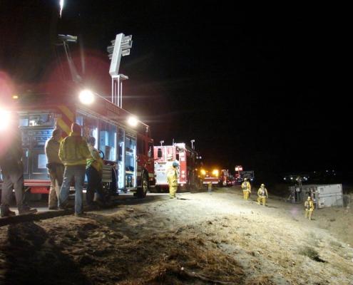 Command Light, CL Series, LED Light Tower, Fire Truck Lights, Firetruck lighting up scene with a command light