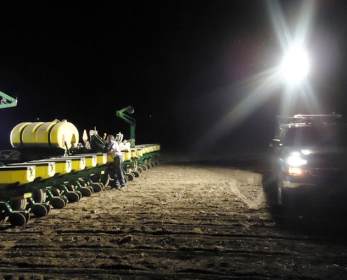 Command Light, Knight Series, LED Light Tower, Fire Truck Lights, Fire Truck with a Command Light lights up farm equipment in field
