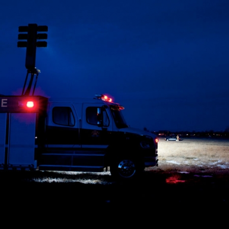 Command Light, CL Series, LED Light Tower, Fire Truck Lights, Fire Truck lighting up scene with a Command Light