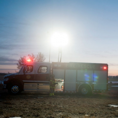 Command Light, CL Series, LED Light Tower, Fire Truck Lights, Firetruck lighting up scene with a command light